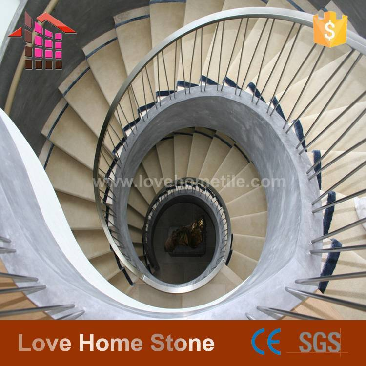 Villa high-end custom marble staircase, spiral staircase